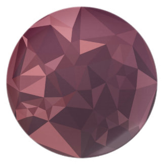 Dark Raspberry Red Abstract Low Polygon Background Dinner Plates