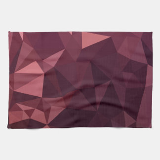 Dark Raspberry Red Abstract Low Polygon Background Kitchen Towel