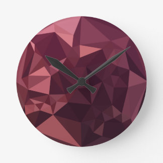 Dark Raspberry Red Abstract Low Polygon Background Round Clock