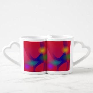 Dark Red Abstract Art Couple Mugs