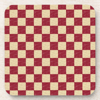 Dark Red and Beige Checkered Coasters