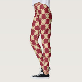 Dark Red and Beige Checkered Hexagons Leggings