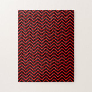 Dark Red and Black Chevron Jigsaw Puzzle