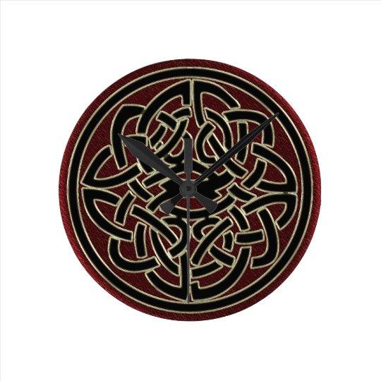 Dark Red and Black Metallic Celtic Knot Round Clock