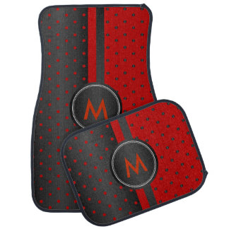 Dark Red and Black Polka Dots Car Mat