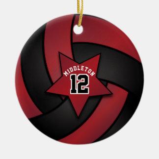 Dark Red and Black Star Volleyball Ceramic Ornament
