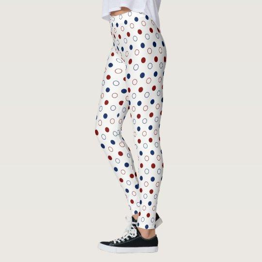 Dark Red and Blue Polka Dot Circles on White Leggings
