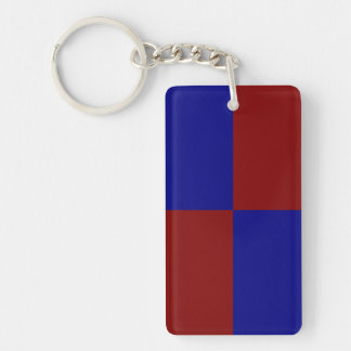 Dark Red and Blue Rectangles Keychain