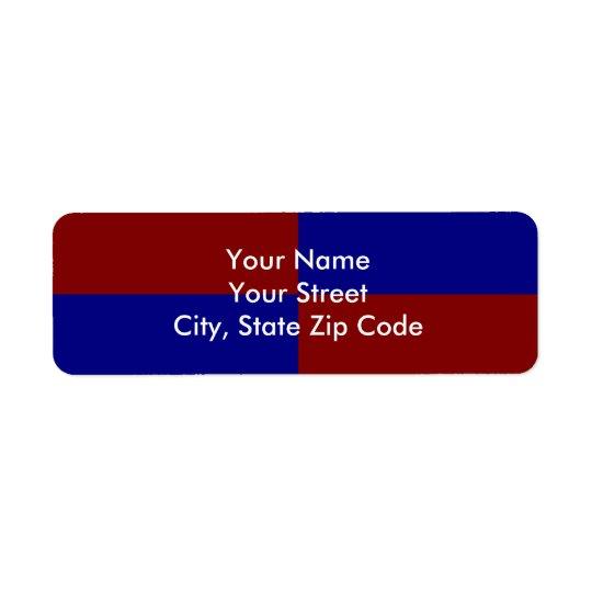 Dark Red and Blue Rectangles return address label