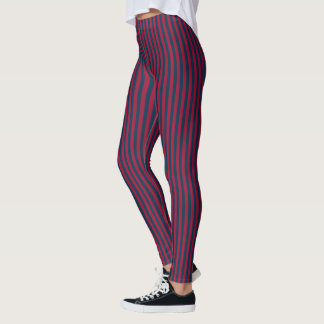 Dark Red and Dark Green Stripes Leggings