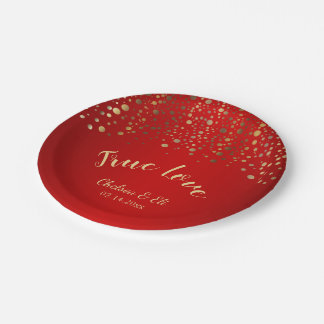Dark Red and Gold Confetti Dots Paper Plate