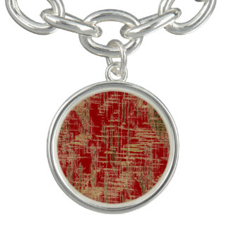 Dark Red and Gold Modern Art Charm Bracelet