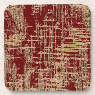Dark Red and Gold Modern Art Coaster