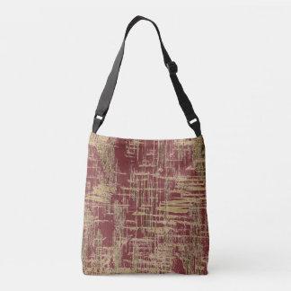 Dark Red and Gold Modern Art Crossbody Bag