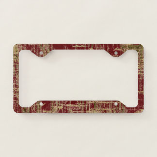 Dark Red and Gold Modern Art License Plate Frame
