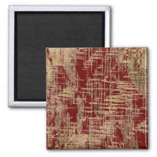 Dark Red and Gold Modern Art Square Magnet
