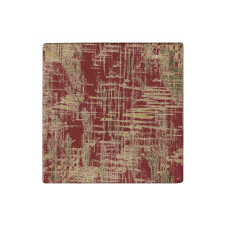 Dark Red and Gold Modern Art Stone Magnets