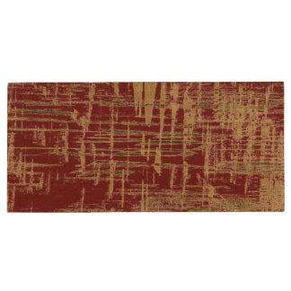 Dark Red and Gold Modern Art Wood USB Flash Drive