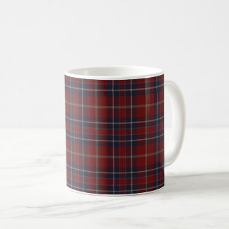 Dark Red and Navy Blue Rustic Plaid Coffee Mug