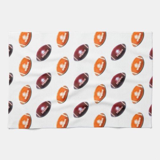 Dark Red and Orange Football Pattern Kitchen Towel