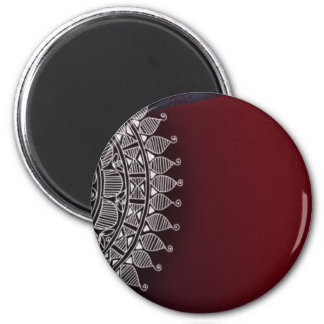 Dark red and silver design magnet