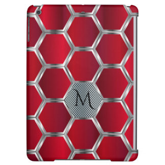 Dark red And Silver Geometric Pattern Case For iPad Air