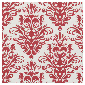 Dark red and White Elegant Damask Pattern Fabric