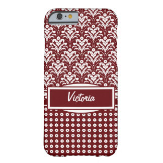 Dark Red and White Floral Art Deco Damask Barely There iPhone 6 Case