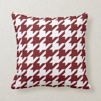 Dark Red and White Houndstooth Pattern Throw Pillow