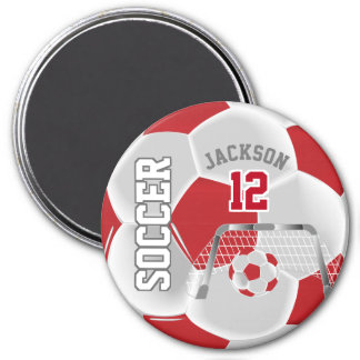 Dark Red and White Personalize Soccer Ball Magnet