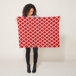 Dark Red and White Quatrefoil Pattern Fleece Blanket