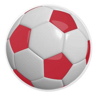 Dark Red and White Soccer Ball / Football Ceramic Knob