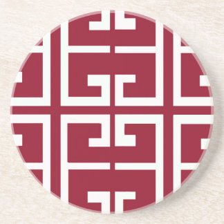 Dark Red and White Tile Coaster
