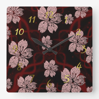 dark red asian blossom square wall clock