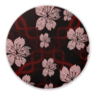 dark red asian cherry blossom ceramic knob