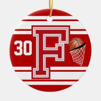 Dark Red Basketball All Varsity  Letters -F Ceramic Ornament