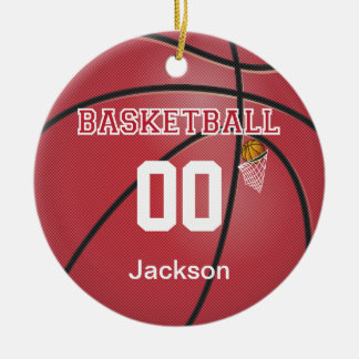 Dark Red Basketball   DIY Name & Number Round Ceramic Ornament