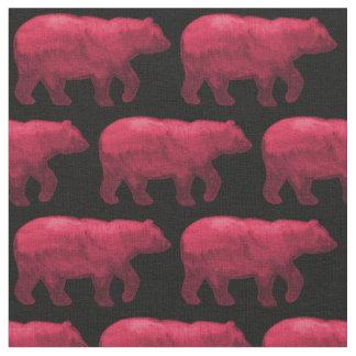 Dark Red Bear on Black Fabric H