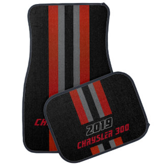 Dark Red, Black and Gray Race Double Stripes Car Mat