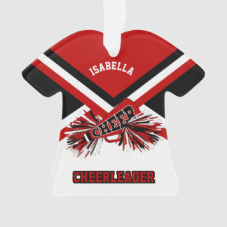 Dark Red, Black and White Cheerleader Ornament