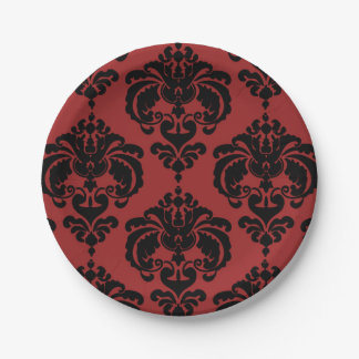 Dark Red & Black Damask Vintage Wedding Event Paper Plate