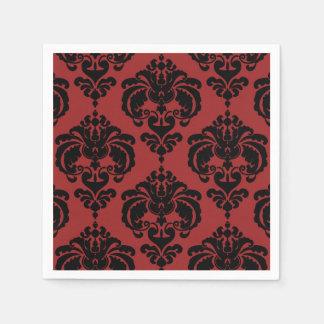 Dark Red Black Damask Vintage Wedding Event Party Paper Napkins