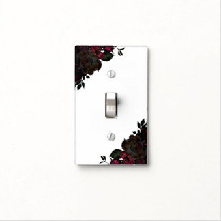 Dark Red & Black Flowers Floral Gothic Glam Custom Light Switch Cover