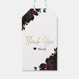 Dark Red & Black Flowers Floral Gothic Glam Favor Gift Tags