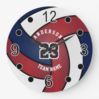 Dark Red, Blue and White Volleyball Large Clock