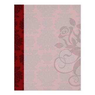 dark red bold damask design letterhead