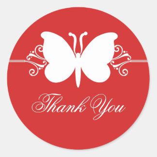 Dark Red Butterfly Swirls Thank You Stickers
