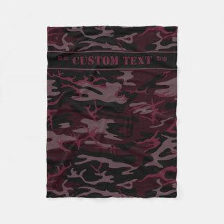 Dark Red Camo w/ Custom Text Fleece Blanket