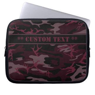 Dark Red Camo w/ Custom Text Laptop Sleeve