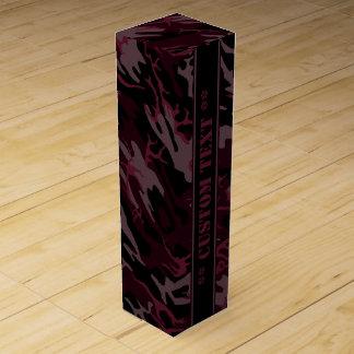 Dark Red Camo w/ Custom Text Wine Boxes